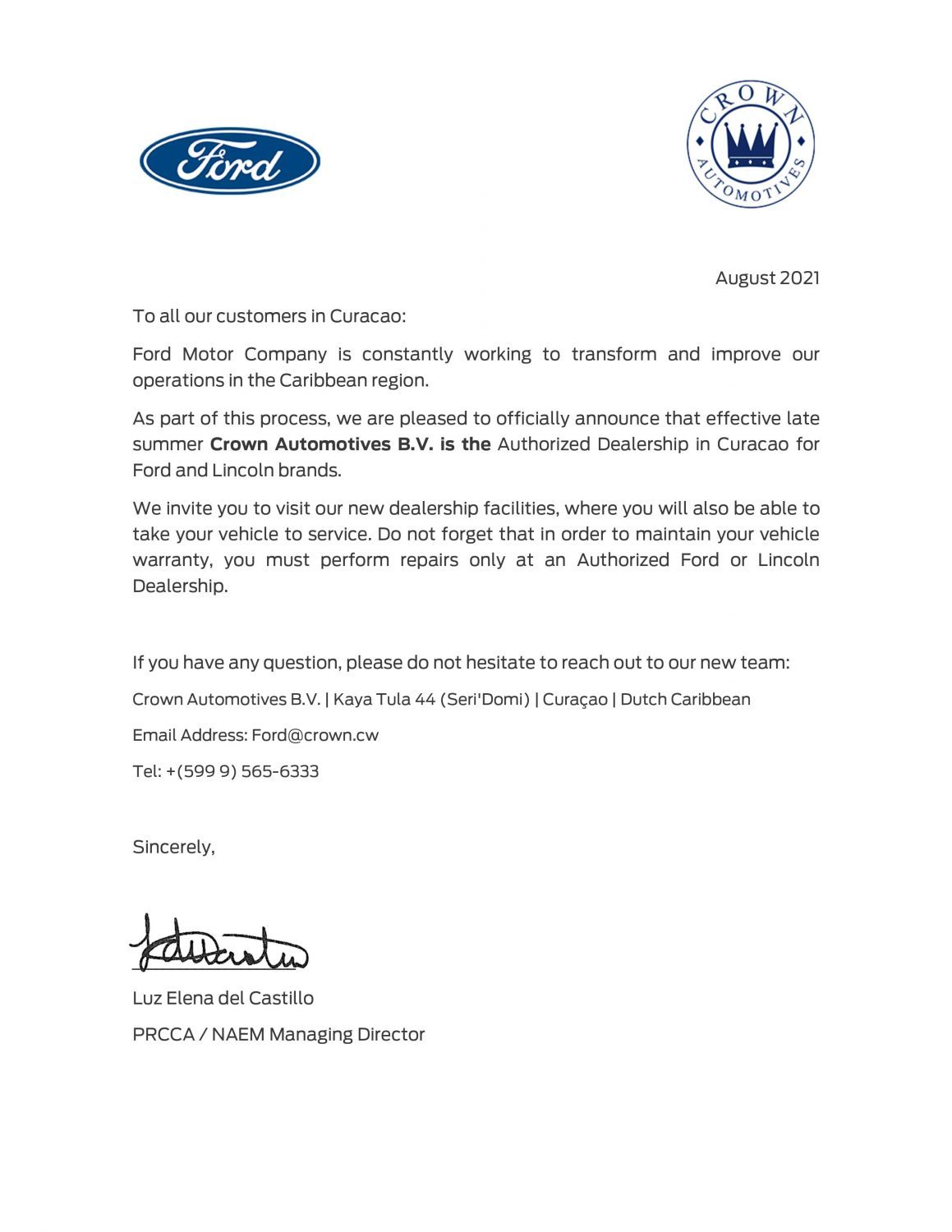 Ford Curacao Announcement